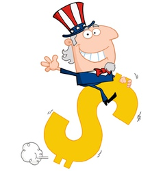 Uncle Sam Riding A Dollar Symbol vector image