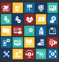 Video blog icons set on color squares background vector