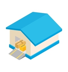 Warehouse with open door isometric 3d icon vector image