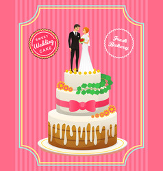 wedding cake card bride and groom valentines day vector image