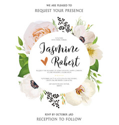 Wedding floral invitation invite watercolor card vector