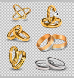 Wedding realistic 3d couples rings gold and silver vector