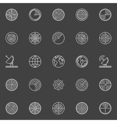White radar line icons vector