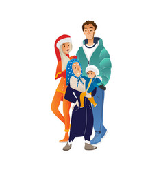 winter family portrait with vector image