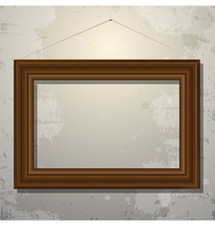 Wooden empty frame picture on old wall vector