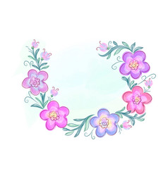 Wreath of flowers in watercolor style with white vector