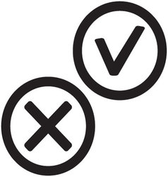 Yes and no icon black white vector image