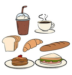 Food and beverage on white vector