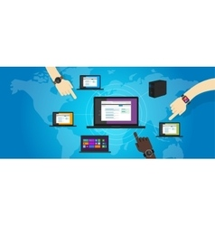 network lan local area networking laptop connect vector image vector image