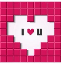 Pink mosaic heart card vector image