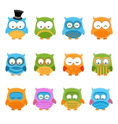 Retro Owl Set vector image