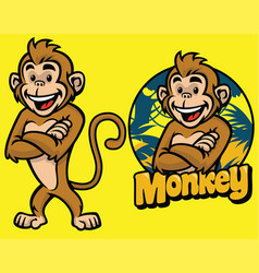 set of cartoon monkey character vector image