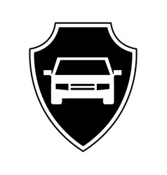 shield insurance with car isolated icon vector image vector image