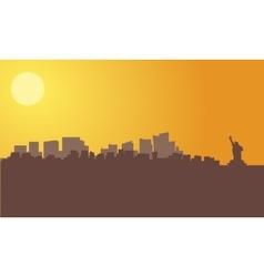 silhouette of new york city skyline vector image