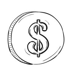 sketch of coin vector image vector image