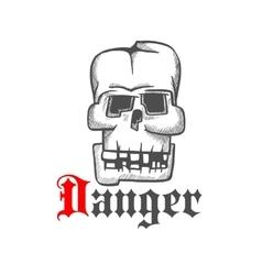 Square human skull engraving sketch symbol vector image vector image