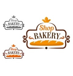 Bakery shop icon with cartouche and loaf vector image vector image