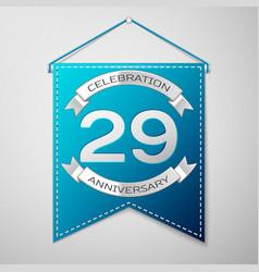 blue pennant with inscription twenty nine years vector image vector image