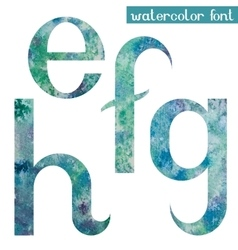 Green-blue watercolor font EFGH vector image