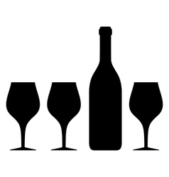 isolated glass and bottle silhouette vector image