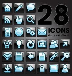 silver shiny icon set vector image vector image