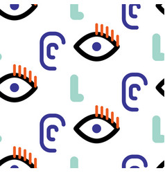 abstract faces hipster seamless pattern vector image vector image