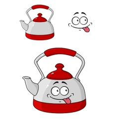 Cartoon kettle with a happy smile vector image