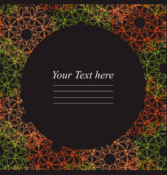 circular frame with colorful mandala on a dark vector image