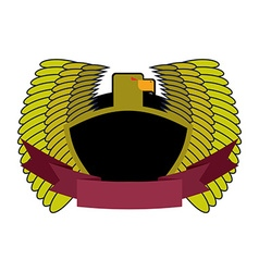 Green Eagle Military logo with shield and tape vector image