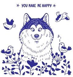 Husky positive vector image vector image