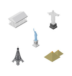 isometric cities set of new york paris athens vector image vector image