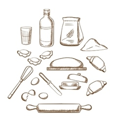 Process of kneading dough in sketch style vector image