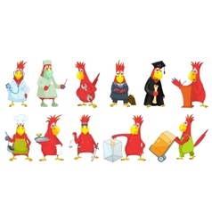 set of funny parrots vector image