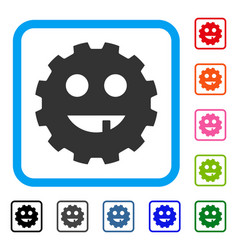 Toothless smiley gear framed icon vector