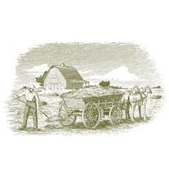 Woodcut Hay Farmer vector image