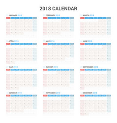 yearly wall calendar planner template for 2018 vector image vector image