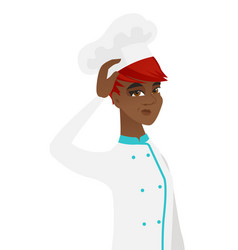 young african-american chef scratching her head vector image