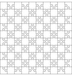 100 Jigsaw puzzle blank template or cutting guidel vector image