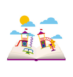 Beautiful children playground with books playing vector