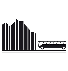 bus in city black silhouette vector image