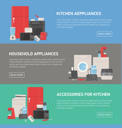 collection of horizontal banners with household vector image