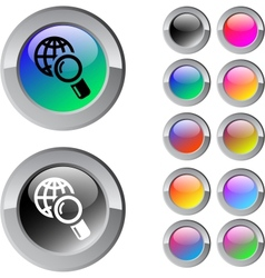 Global search multicolor round button vector image