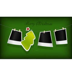 hanging christmas tree badge vector image vector image