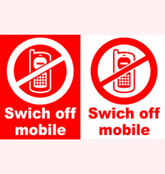 turn off mobile phone sign vector image vector image