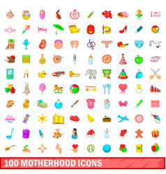 100 motherhood icons set cartoon style vector image