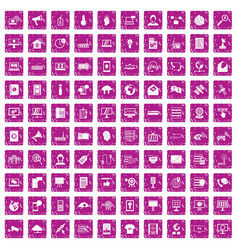 100 telecommunication icons set grunge pink vector