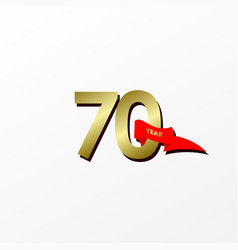 70 years anniversary celebration gold with red vector