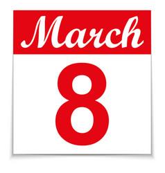 8 march calendar vector