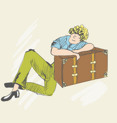 A funny person sleeping on a suitcase vector