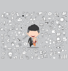 a happy face businessman a concept of balancing vector image